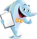 Funny Dolphin Cartoon Character Illustrations - Making thumbs up with notepad