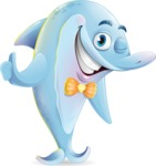 Funny Dolphin Cartoon Character Illustrations - Making Thumbs Up