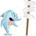 Funny Dolphin Cartoon Character Illustrations - on a Crossroad with sign pointing in all directions