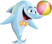 Funny Dolphin Cartoon Character Illustrations - Playing with beach ball