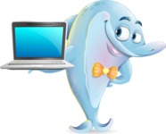 Funny Dolphin Cartoon Character Illustrations - Presenting on a laptop