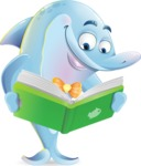 Funny Dolphin Cartoon Character Illustrations - Reading a book