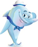 Funny Dolphin Cartoon Character Illustrations - Saluting in a sailor outfit
