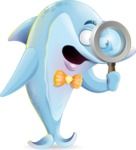 Funny Dolphin Cartoon Character Illustrations - Searching with magnifying glass