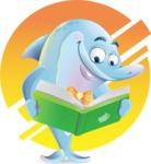 Funny Dolphin Cartoon Character Illustrations - Shape 10
