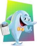 Funny Dolphin Cartoon Character Illustrations - Shape 11