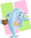 Funny Dolphin Cartoon Character Illustrations - Shape 12