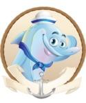 Funny Dolphin Cartoon Character Illustrations - Shape 2