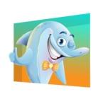 Funny Dolphin Cartoon Character Illustrations - Shape 3