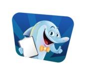 Funny Dolphin Cartoon Character Illustrations - Shape 4