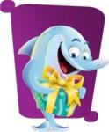 Funny Dolphin Cartoon Character Illustrations - Shape 5