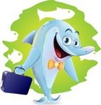 Funny Dolphin Cartoon Character Illustrations - Shape 6