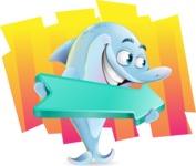 Funny Dolphin Cartoon Character Illustrations - Shape 8