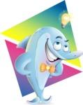 Funny Dolphin Cartoon Character Illustrations - Shape 9