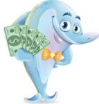 Funny Dolphin Cartoon Character Illustrations - Show me the Money