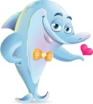 Funny Dolphin Cartoon Character Illustrations - Showing Love