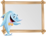 Funny Dolphin Cartoon Character Illustrations - Showing on Big whiteboard