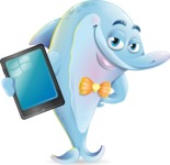 Funny Dolphin Cartoon Character Illustrations - Showing tablet