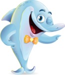 Funny Dolphin Cartoon Character Illustrations - Showing with left hand