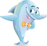 Funny Dolphin Cartoon Character Illustrations - Showing with right hand
