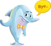 Funny Dolphin Cartoon Character Illustrations - Waving for Goodbye with a hand