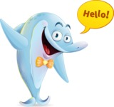 Funny Dolphin Cartoon Character Illustrations - Waving for Hello with a hand