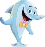 Funny Dolphin Cartoon Character Illustrations - Waving