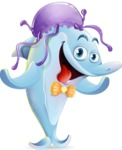 Funny Dolphin Cartoon Character Illustrations - Wearing a jellyfish hat
