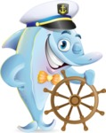 Funny Dolphin Cartoon Character Illustrations - Wearing captain hat with ship wheel