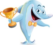 Funny Dolphin Cartoon Character Illustrations - Winning prize
