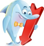 Funny Dolphin Cartoon Character Illustrations - with Arrow going Down