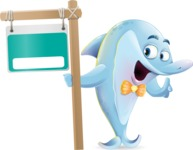 Funny Dolphin Cartoon Character Illustrations - with Blank Real estate sign