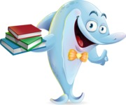 Funny Dolphin Cartoon Character Illustrations - with Books