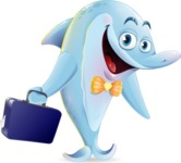 Funny Dolphin Cartoon Character Illustrations - with Briefcase