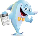 Funny Dolphin Cartoon Character Illustrations - with Calculator