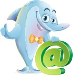 Funny Dolphin Cartoon Character Illustrations - with Email sign
