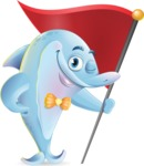 Funny Dolphin Cartoon Character Illustrations - with Flag