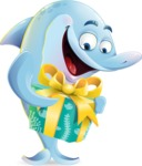 Funny Dolphin Cartoon Character Illustrations - with Gift box