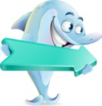 Funny Dolphin Cartoon Character Illustrations - with Positive arrow