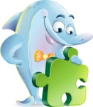 Funny Dolphin Cartoon Character Illustrations - with Puzzle