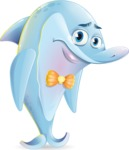 Funny Dolphin Cartoon Character Illustrations - with Sad face