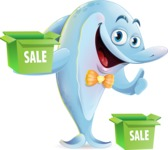 Funny Dolphin Cartoon Character Illustrations - with Sale boxes