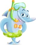 Funny Dolphin Cartoon Character Illustrations - with Snorekl and Floatie
