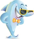 Funny Dolphin Cartoon Character Illustrations - with Sunglasses