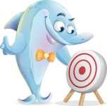 Funny Dolphin Cartoon Character Illustrations - with Target