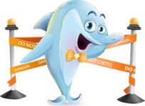 Funny Dolphin Cartoon Character Illustrations - with Under Construction sign