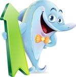 Funny Dolphin Cartoon Character Illustrations - with Up arrow