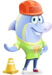 Little Dolphin Kid Cartoon Vector Character - as a Construction worker