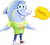 Little Dolphin Kid Cartoon Vector Character - Feeling sorry