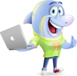 Little Dolphin Kid Cartoon Vector Character - Holding a laptop